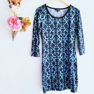 Blue And Black Stretch Knit Long Sleeve Dress L